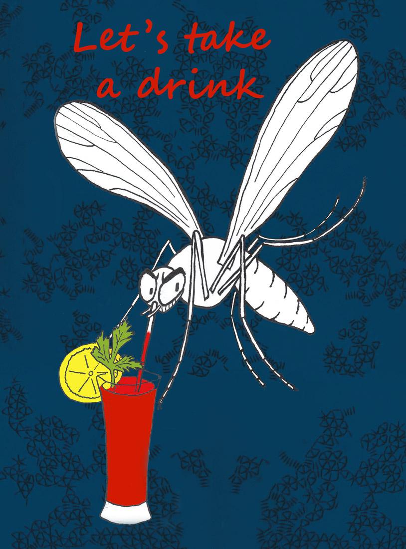 Mücke trinkt einen Bloody Mary Biogents AG